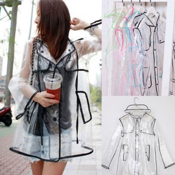 Transparent Vinyl Raincoat Runway Style Womens Girls Clear Fashion Rain Coat SSA = 1929899716