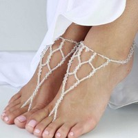 Jewelry Sexy Shiny Stylish Gift Cute Ladies New Arrival Accessory Crystal Beach Stretch Anklet [7240986695]