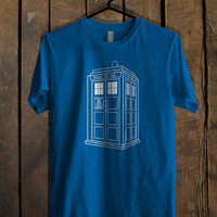 Doctor Who Tardis White Blue For Mens T Shirt and Womens T Shirt *76*