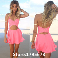 Hot Selling Sexy Summer Style 2015 Women Casual Pink Beash Dress Female Clothing Backless Strapless Chiffon Dresses 5XC007
