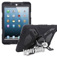 iPad Mini Heavy Duty Pepko BLACK Suvivor Style Hybrid 2 Piece Fusion Defender with built in stand and FREE Jersey Bling® Stylus (Black/Black)