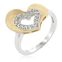 Two-tone Finished Cubic Zirconia Heart Ring, size : 05