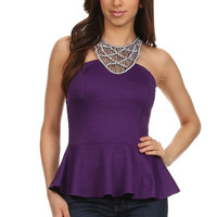 Sequin Fit and Flare Top - Purple