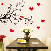 Fashion Red Love Heart Wall Stickers Home Decor Life Tree Wall Sticker Home Decor Cute Birds Wall Sticker