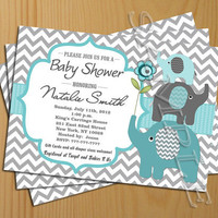 Chevron Baby Shower Invitation Boy teal tiffany - FREE Thank You card included, Baby Shower Invite Printable