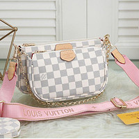 LV Bag Louis Vuitton Classic Women Leather Handbag Tote Shoulder Bag Satchel Three-Piece Available in 36 colors White pink shoudler straps