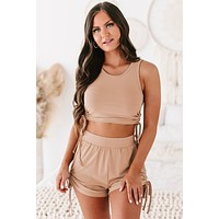 Kirsten Ribbed Side Ruched Tank Top (Cappuccino)