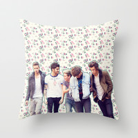 Floral 1D Throw Pillow by Valerie Hoffmann || One Direction