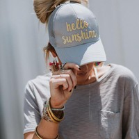Hello Sunshine Messy Bun Baseball Hat - Gray