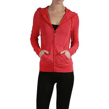 Casual Workout Full Zip Up Long Sleeve Light Thin Hooded Sweatshirt Top SMLXL~