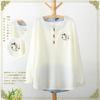Embroidered Long-Sleeve Button-Up Knitted Sweater