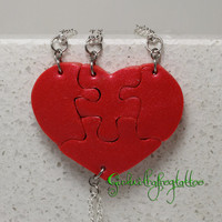 Heart Shaped Puzzle Necklaces Set of 4 Interlocking Necklaces Red Pearl Polymer Clay Set 291