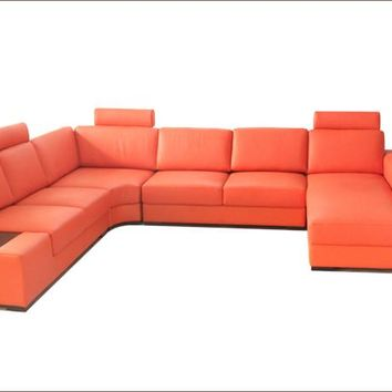 Free Shipping Modern Euro Design Sofa Large Size U Shaped Couches with light, coffee table fashion orange Leather Corner Sofa