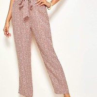 Ditsy Floral Print Belted Pants