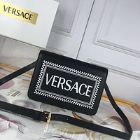 2020 New Office VERSACE size 24-16-6 cm Women black Canvas Saddle back pack travel bags Monogram Handbag Neverfull Bags Tote Shoulder Bag Wallet Purse Bumbag Discount Cheap Bags Best Quality