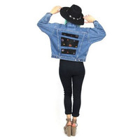Vintage Denim andLeather Jean Jacket Reworked Patched Bedazzled Gem Stones (XS/S)