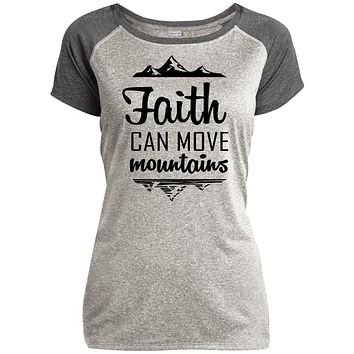 "Christian T Shirts - ""Faith Can Move Mountains"" Ladies"