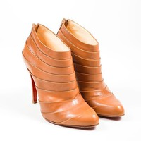 DCCK2 Camel Leather Christian Louboutin Orniron 100 Pleated Ankle Boots