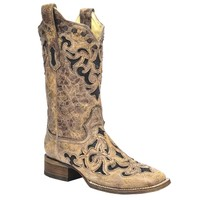 Corral Brown Stingray Inlay Wide Square Toe Boots