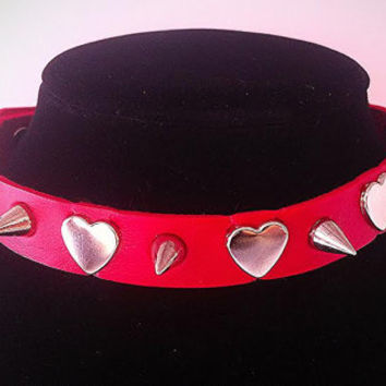 Spiked  Hearts Vegan Leather Punk Goth Choker Necklace