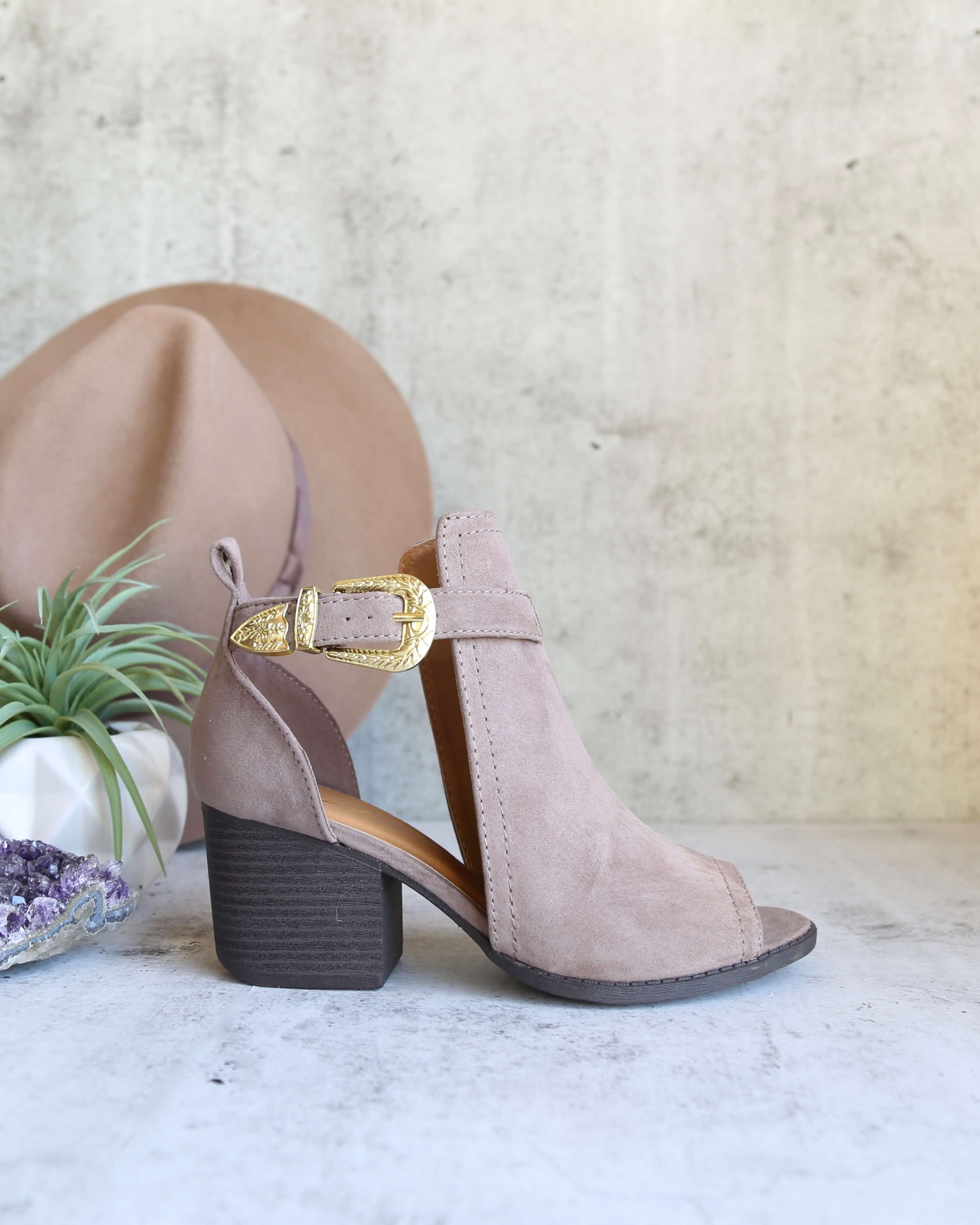 Image of Final Sale - Peep Toe Ankle Booties in Taupe