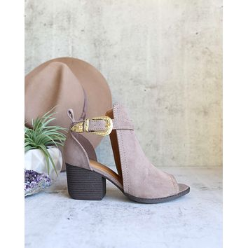 Peep Toe Ankle Booties in Taupe