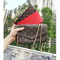 LV Louis Vuitton 3AAA Classic Presbyopia Retro Chain Bag Shoulder Bag Mahjong Bag Three-piece Set (With box)