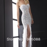 Latest Designed Strapless Feather Prom Gown Sexy High Slit Party Dresses New Sexy Beaded Feathers Evening Dress