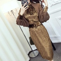New 2018 Autumn Dress Brand Fashion Runway Designer Velvet dress  chiffon lanterns sleeve gold velvet dress