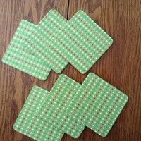 Christmas Coasters, 6 Green With Red And White Polka Dot Christmas Print MDF Wood Coasters, Christmas Decor, Housewarming Gift, Hostess Gift