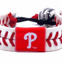 Gamewear MLB Leather Wrist Band - Phillies Classic Band