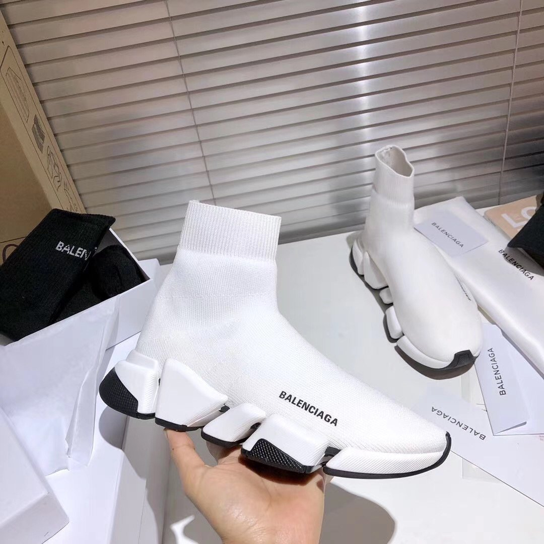 Image of Balenciaga  Trending Women's men Leather Side Zip Lace-up Ankle Boots Shoes High Boots
