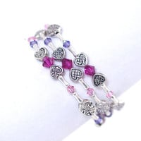 Red ruby pink purple Swarovski crystal bead memory wire bracelet Antique silver plated heart oval Wrap bangle Stack layer cuff coil braclet