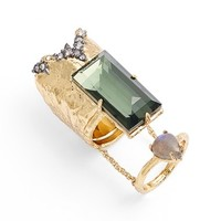 Women's Alexis Bittar 'Elements' Attached Cocktail Rings - Gold/ Green Amethyst (Set of 2)