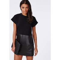Missguided - Jersey and Wet Look PU Roll Sleeve T-Shirt Dress Black