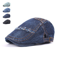Fashion Spring Summer Jeans Hats for Men Women High Quality Casual Unisex Denim Beret Caps OutDoors Flat Sun Cap for Cowboy