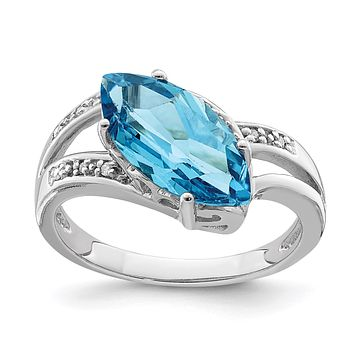 Sterling Silver Rhodium Blue Topaz & Natural Diamond Gemstone Birthstone Ring Fine Jewelry Gift for Her