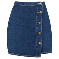 Daisy Wrap 5 Button Denim Skirt