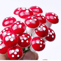 Mini Red Mushroom Garden Ornament Miniature Plant Pots Fairy DIY Dollhouse Landscape Bonsai Plant Gardening Decor 50pcs/Lot