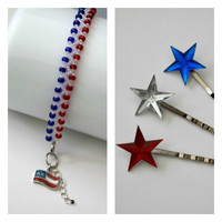 Patriotic Beaded Bracelet, Red, White, Blue, American Flag Charm, Star Bobby Pins, 4th Of July Set