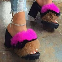 Fur High Heels Slippers Shoes Woman Fluffy Women Slipers Furry Dames Fuzzy Ladies Plush