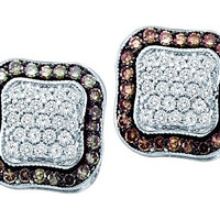 Cognac Diamond Fashion Earrings in 10k White Gold 1 ctw