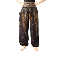 Salwar Pants Thai Pants Women's Yoga Pants Boho Peacock Design Elephant Pants Thai Pants Gypsy Pants Yoga Pants Drop Trouser Women's Yoga Pants