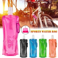 Hot Eco-Friendly Portable Foldable Reuseable Water Bottle With Carabiner Outdoor Sports Travel Folding Bags