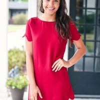 Burgundy Scallop Dress