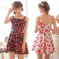 Sweet Cherries Back Bow Vest Dress