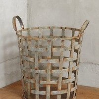 Distressed Metal Storage Basket by Anthropologie Silver One Size House & Home