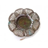 Vintage small flower shaped silver plated filigree copper plate.