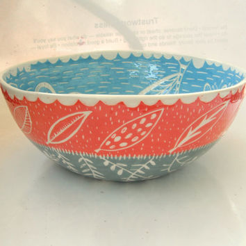 Made to Order Large 12 inch Salad Serving Bowl- Bright Blue and Salmon Pink