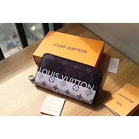 LV Louis Vuitton Trending Women Men Stylish Leather Zipper Wallet Purse